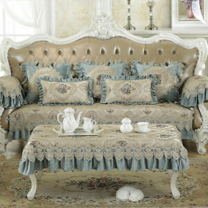 European Antique Lace Jacquard Sofa Cover Slipcovers Mat Couch Chair Protector