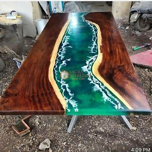 Epoxy Green Resin table Walnut resin river Dining table epoxy table