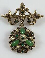 Vintage Antique Gold Look Jade Emerald Green Pearl Dangle Pin Brooch