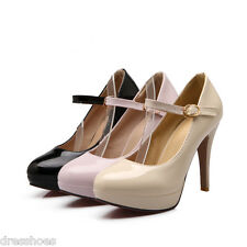 Women's High Heel Platform Shoes Mary Janes Synthetic Leather Pumps AU Size D119