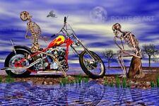 HARLEY DAVIDSON PANHEAD MOTORCYCLE EASYRIDERS SURREAL SKELETON ART PRINT
