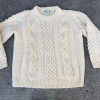 Vintage Irisfree Hand Knit Ivory Wool Cable Knit Sweater Sz Large Irish Ireland