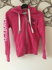 Superdry Ladies Size Xs Hoodie Hoody, Pullover, Pink, White Great Condition