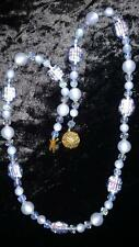 """Vintage 26"""" Necklace ~ Venetian Foil Beads, Faceted Glass and Moonstone Beads"""