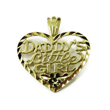 10K Yellow Gold Heart Daddy's Little Girl Charm Necklace Pendant ~ 0.9g