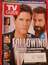 TV GUIDE MAGAZINE JANUARY 20 FEBRUARY 2  2014 THE FOLLOWING KEVIN BACON PUREFOY