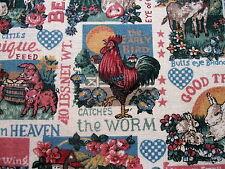 Vtg 80s Kitchen cotton fabric novelty PIG COW sayings primitive half yard cut