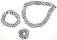 1set Black Tattoo Choker Necklace Bracelet Ring Set Elastic Stretch Grunge