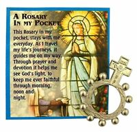 Silver Tone Crucifix Rosary Ring with Pocket Holy Prayer Card, 1 5/8 Inch