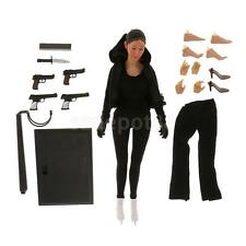 """1/6 Female Body Head Sculpt with Black Clothing Display Stand for 12"""" Phicen"""