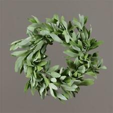 New Primitive Cottage Chic Rustic Herb Leaves Green Candle Ring Wreath