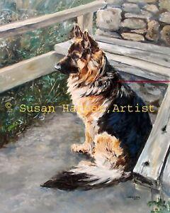 SALE German Shepherd Signed Dog Print by Susan Harper Unmounted