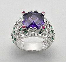 15mm BIG NEW Solid Sterling Silver Cushion  Amethyst Crystal Cocktail Ring 9