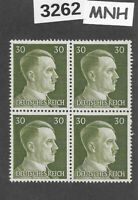 #3262  MNH stamp block of 4 / PF30 Sc519 / WWII Germany Third Reich Adolf Hitler