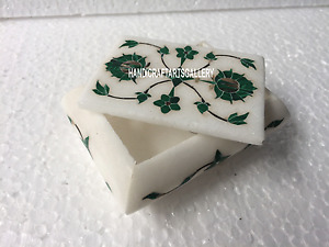 "4""x3""x2"" White Marble Jewelry Box Malachite Floral Inlay Home Decorative H3529"