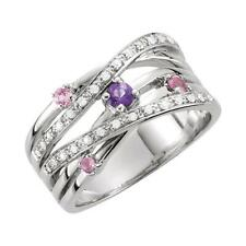 Sterling Silver Pink Tourmaline, Amethyst and Diamond Criss Cross Ring