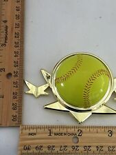 Yellow Baseball With 3 Stars Gold Plastic Trophy Placque