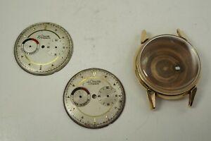 LeCOULTRE FUTUREMATIC 10GF YELLOW GOLD CASE w/ 2 DIAL (parts) DATES 1950'S