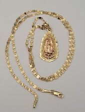 14K Yellow Rose Gold Virgin Mary Pendant Charm Religious Valentino Chain 18 Inch