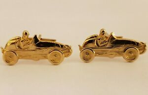 Vintage 1950's Race Car Vintage Auto Automobile Racing Men's Goldtone Cufflinks