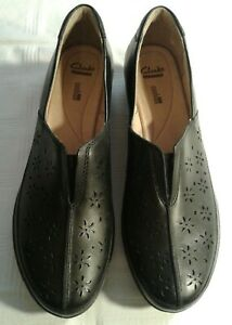Clarks Collection Soft Cushion Black Leather Slip On Loafer Wedge Size 12N