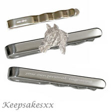 TIE SLIDE Clip Sterling Silver HORSES 925 UK Hallmark Personalised Engraving