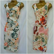 EX MARKS & SPENCER M&S FLORAL SCUBA DRESS SHIFT BODYCON PINK GREEN IVORY 10 - 18