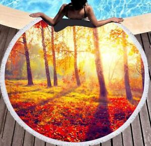 3D Sunny Forest ZHU1380 Summer Plush Fleece Blanket Picnic Beach Towel Dry Zoe