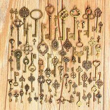 70Pcs Vintage Old Look Bronze DIY Skeleton Keys Heart Bow Pendant For Home Decor