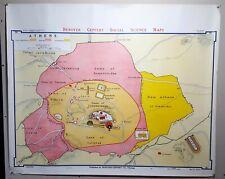 "Denoyer-Geppert School Wall Map Ancient Athens B8 1967, 44 x 36"""