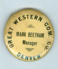 OLD DENVER GREAT WESTERN COM CO PIN BACK **NOW ON SALE** AD245