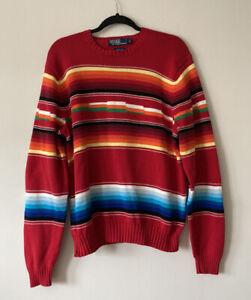 Polo Ralph Lauren Southwestern Sweater Large Indian Blanket Aztec Red Serape