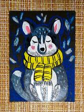 ACEO original pastel painting outsider folk art brut #010536 surreal funny dog