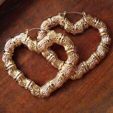 BIG 7cm HEART BAMBOO EARRINGS large metal hoops GOLD FASHION HOOP RETRO HEARTS