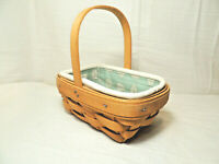 LONGABERGER 1999 Parsley Booking Basket with Sage Leaf Liner and Protector EUC