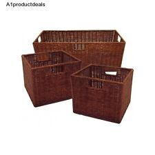 Wood Storage Baskets Set 3 Nesting Bins Woven Wicker Winsome Home Organization