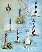 David Textiles Digitally Printed NC Lighthouses Panel Cotton Fabric 3839-9