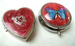 "STUNNING VINTAGE ESTATE HEART & BUTTERFLY 2"" PILL BOX LOT!!! G6559"