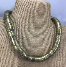 Vintage Necklace Ethnic Brass Stacked Bell Caps Adjustable Choker