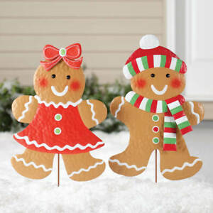Gingerbread Girl & Boy Metal Christmas Outdoor Yard Stakes