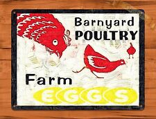 TIN SIGN Barnyard Poultry Farm Eggs Dairy Rooster Chicken Decor Farm Barn Coop