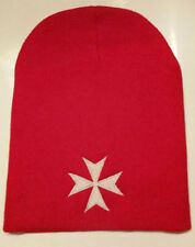 SPORT KNIT RED BEANIE WITH WHITE MALTESE CROSS EMBROIDERY 100% ACRYLIC UNISEX