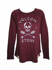 BRAND NEW VOLCOM WOMENS RAGLAN T SHIRT TOP TEE CREW TUNIC RELAXED FIT BLOUSE S
