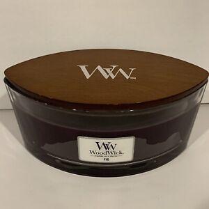 WoodWick Fig Ellipse Candle 16 oz WW Wood Wick Crackles as it Burns Hearthwick