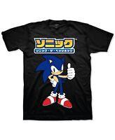 Sega Mens T-Shirt Black Size Large L Sonic the Hedgehog Kanji Crewneck Tee 298