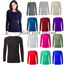 Womens Long Sleeve Plain Stretch  Round Scoop Neck Ladies T Shirt Top Plus 8-26