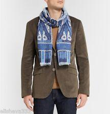 ~$400 Etro Milano Italy Mens Paisley Print Scarf Wool Blend Italian Blue