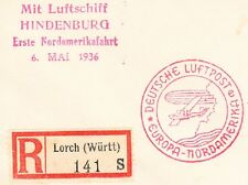 Germany Airship Zeppelin Hindenburg 1st North American Flight Registered Lorch æ