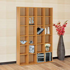 Adjustable High Quality Media Storage Shelf With Shelves Rack Unit 24 Beech