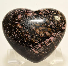 "2.5"" Natural Pink Rhodonite HEART Polished Gemstone Crystal Mineral China +Stand"